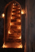 Steps leading out of the temple, lit by birthday candles