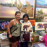 The lovely lady who sold me this elephant painting - she wanted a photo!